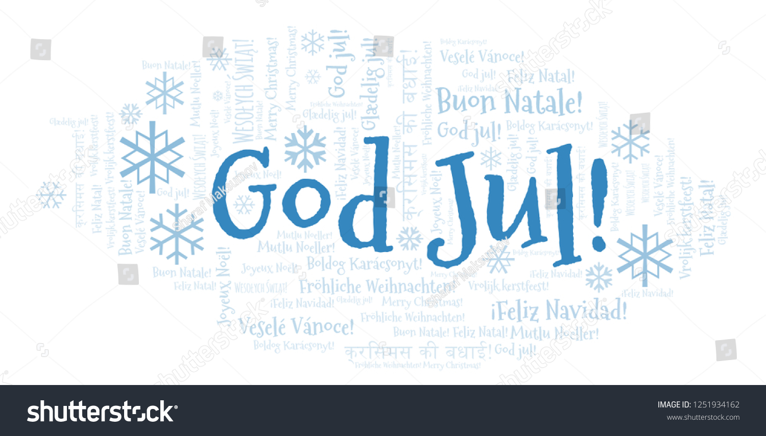 How Do You Say Merry Christmas In Swedish.God Jul Word Cloud Merry Christmas Stock Illustration 1251934162