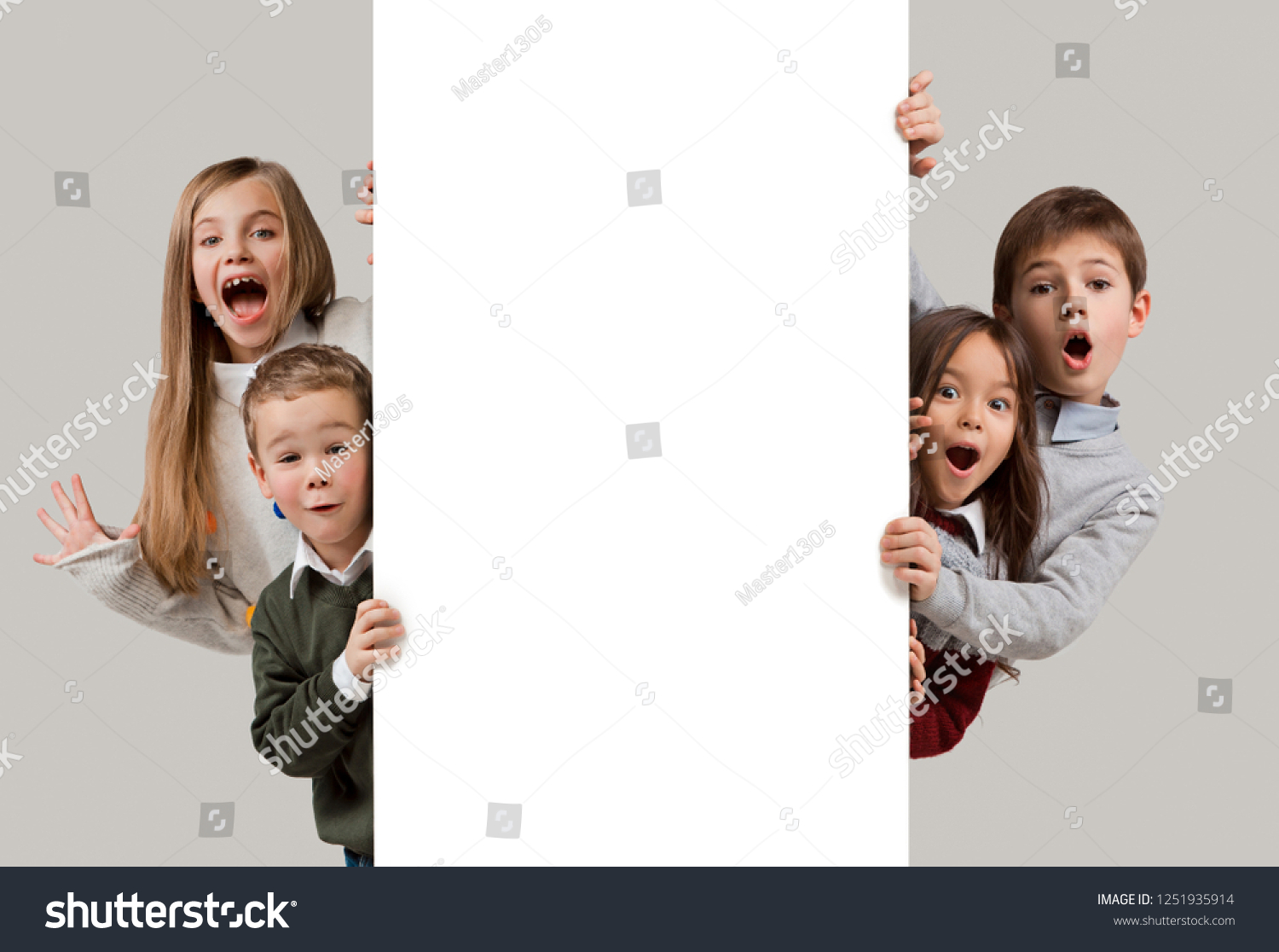dee27e83a8 Banner with a surprised children peeking at the edge with copyspace. The  portrait of cute