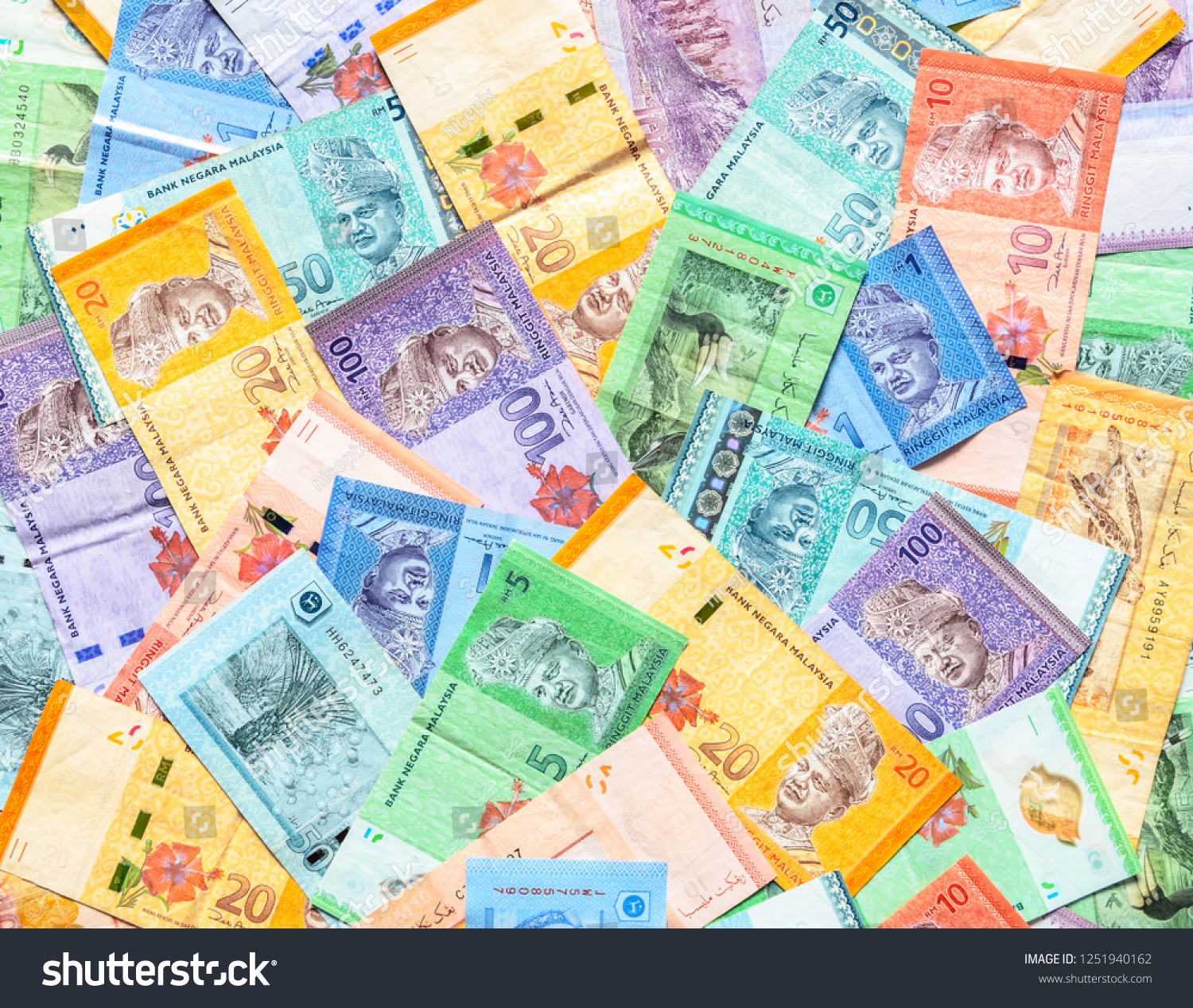 Malaysia Currency Malaysian Ringgit Banknotes Background Stock Photo