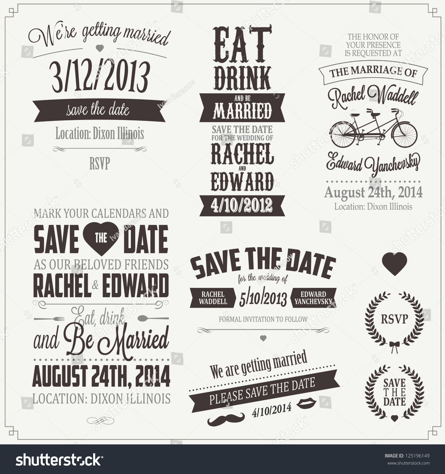 Set Wedding Invitation Vintage Typographic Design Stock Illustration ...