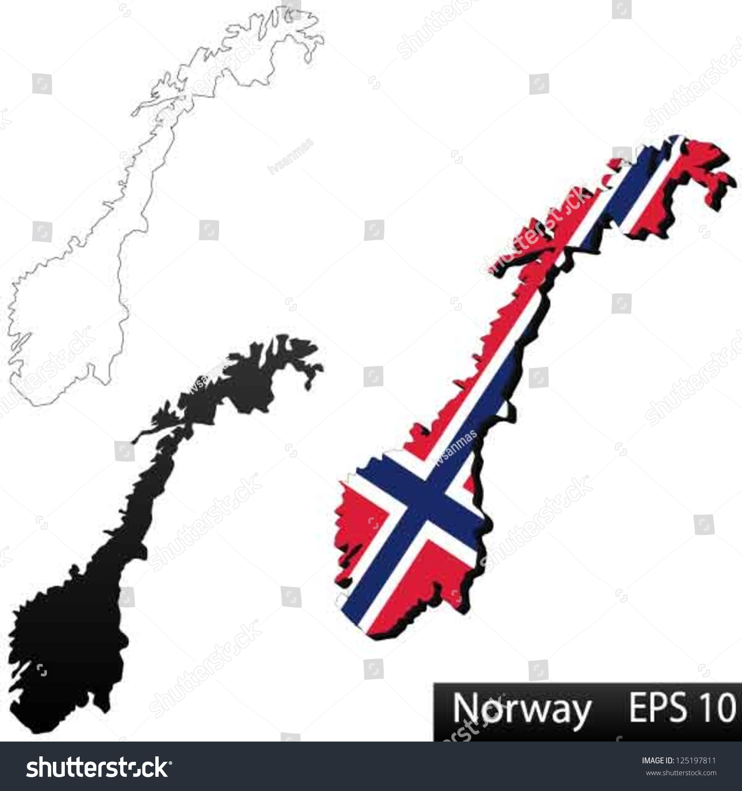 Maps Norway Dimensional Flag Clipped Stock Vector - Norway map eps
