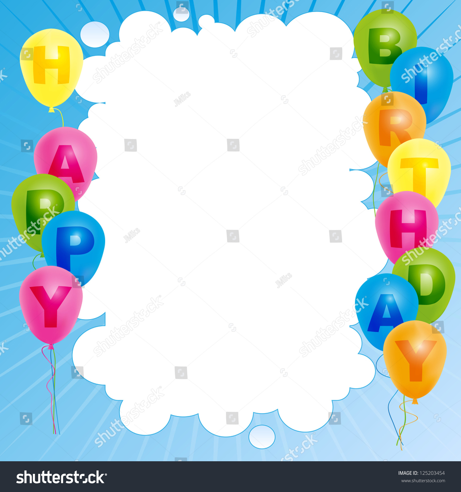 Happy Birthday Card Template   Color Balloons With Sign And Copyspace