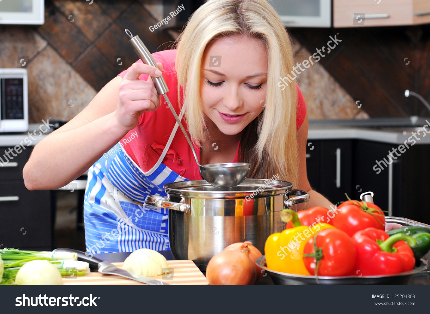 Kitchen Woman Making Healthy Food Standing Stock Photo