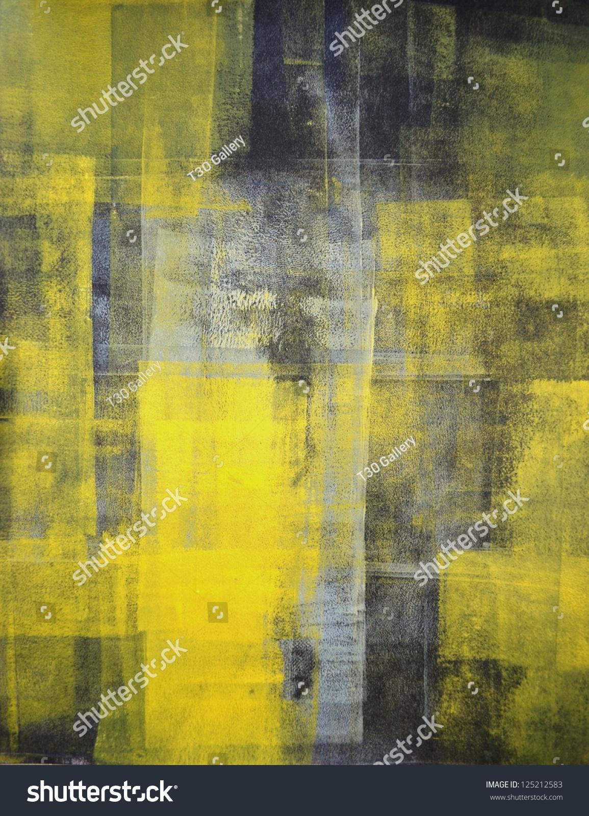 Black Yellow Abstract Art Painting Stock Photo 125212583 ... Yellow Black Abstract Paintings