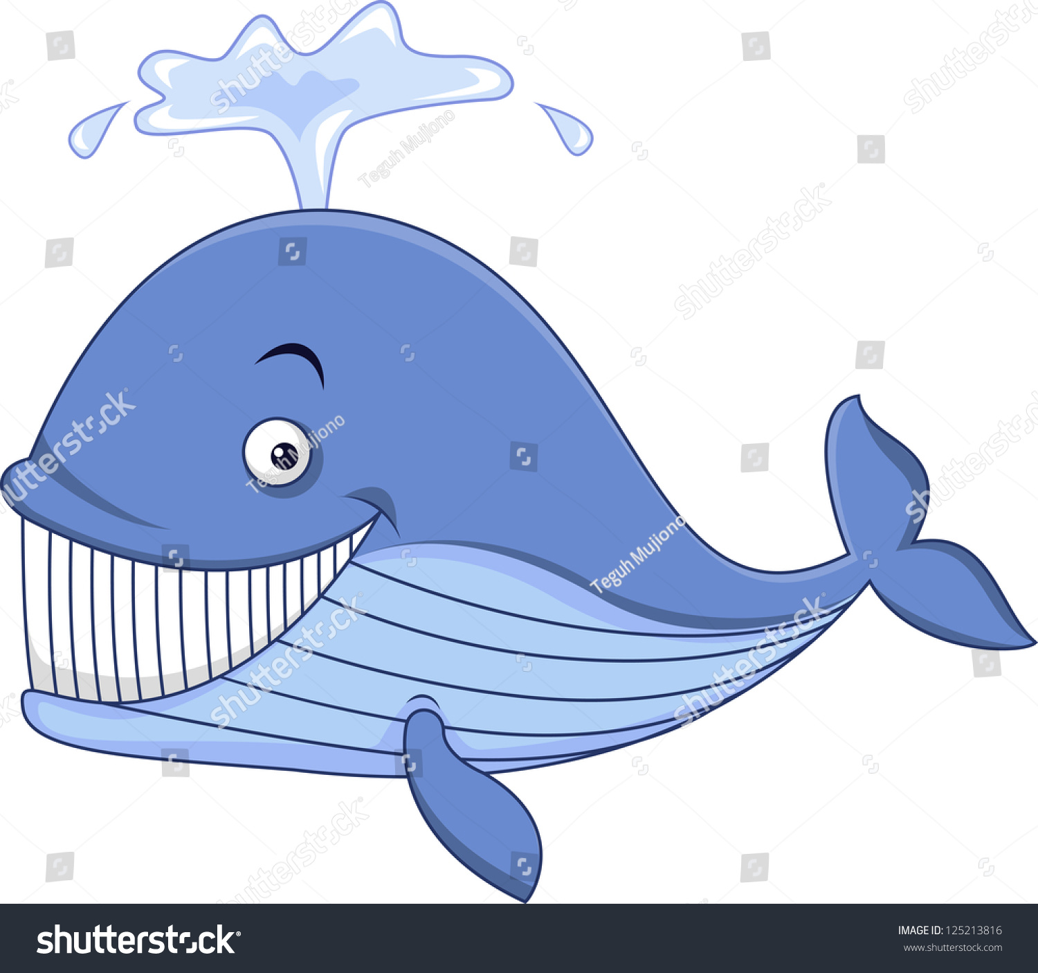 Cute whale in water cartoon isolated illustration stock photography - Happy Blue Whale Cartoon