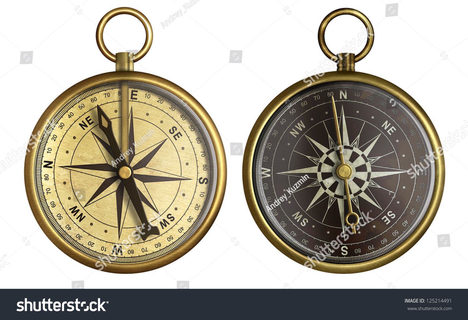 Old compass collection. Two aged brass antique nautical pocket compass ...