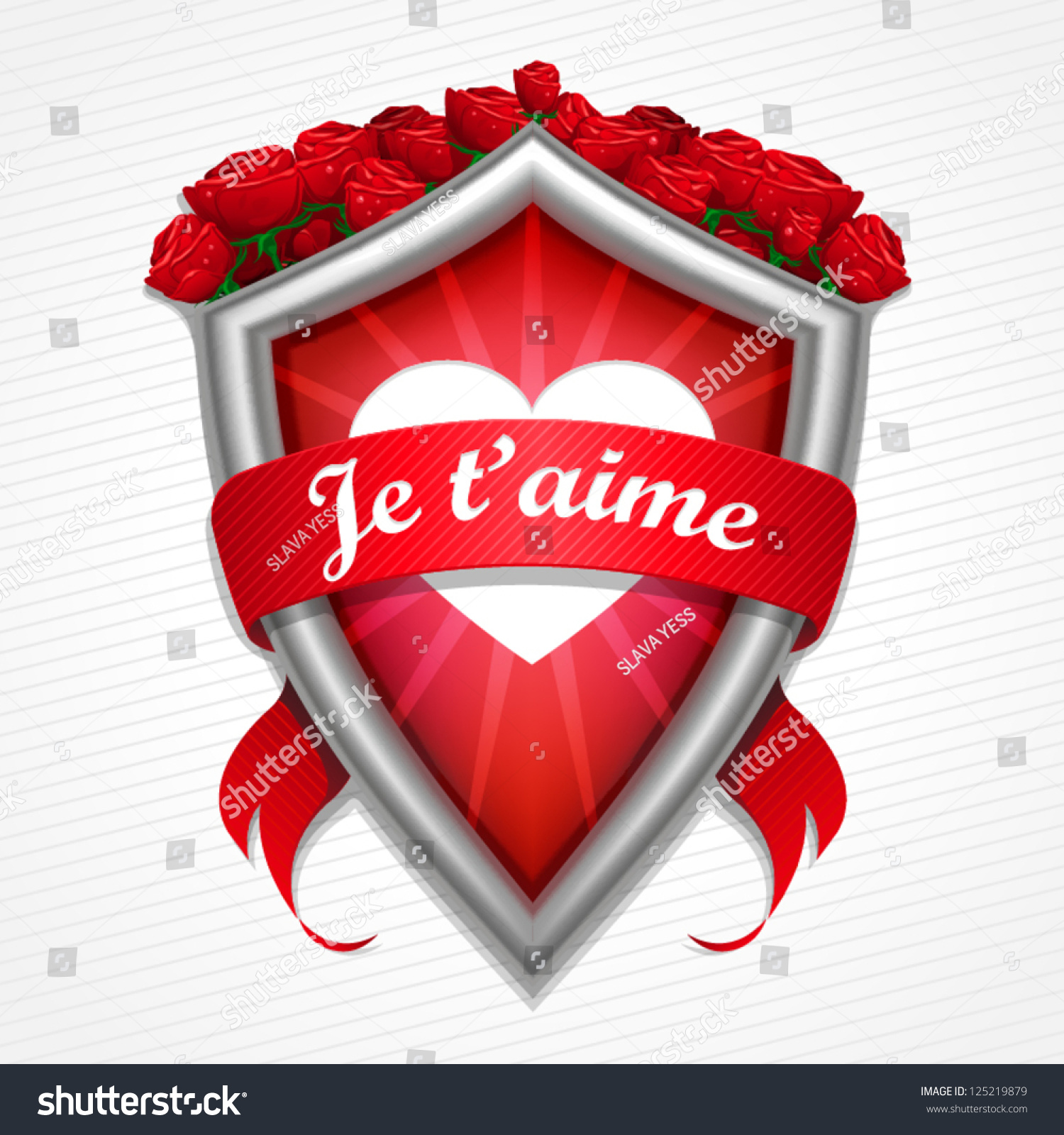 Metal Shield Heart Shape Red Roses Stock Vector Royalty Free