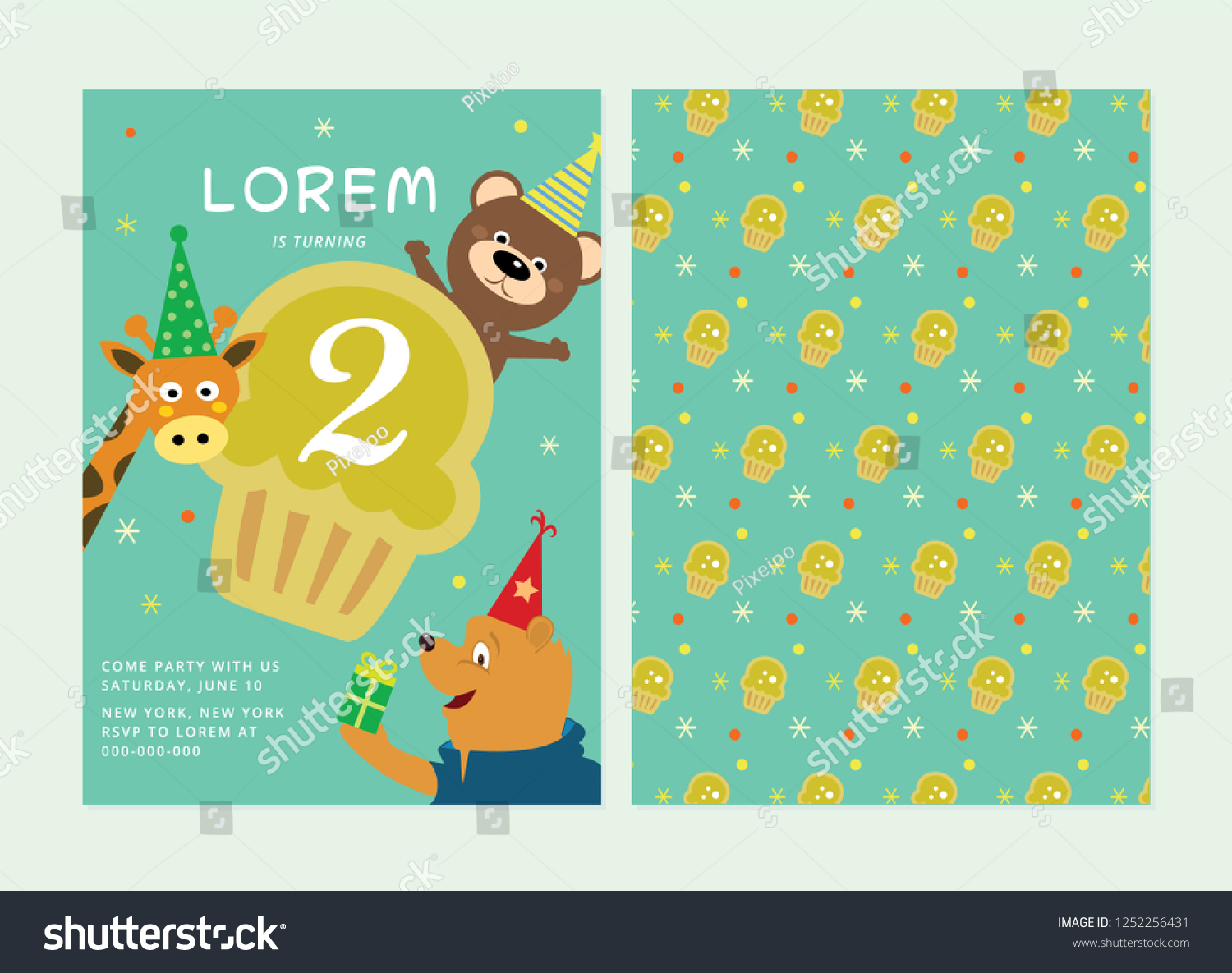 Kids Birthday Party Invitation Card Animal Template Layout Theme