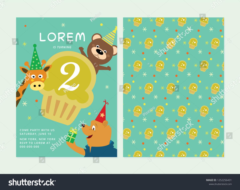 Kids Birthday Party Invitation Card Animal Template Layout Theme