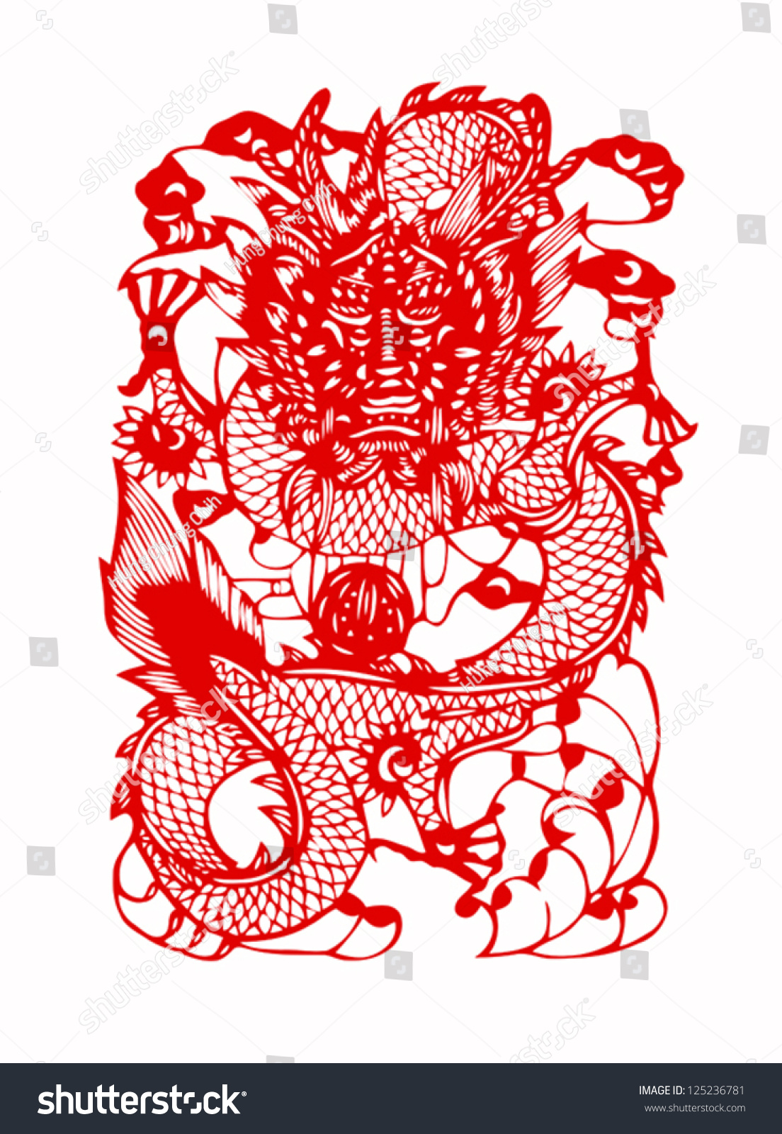 Red Chinese Dragon Symbol Strength Good Stock Vector Royalty Free