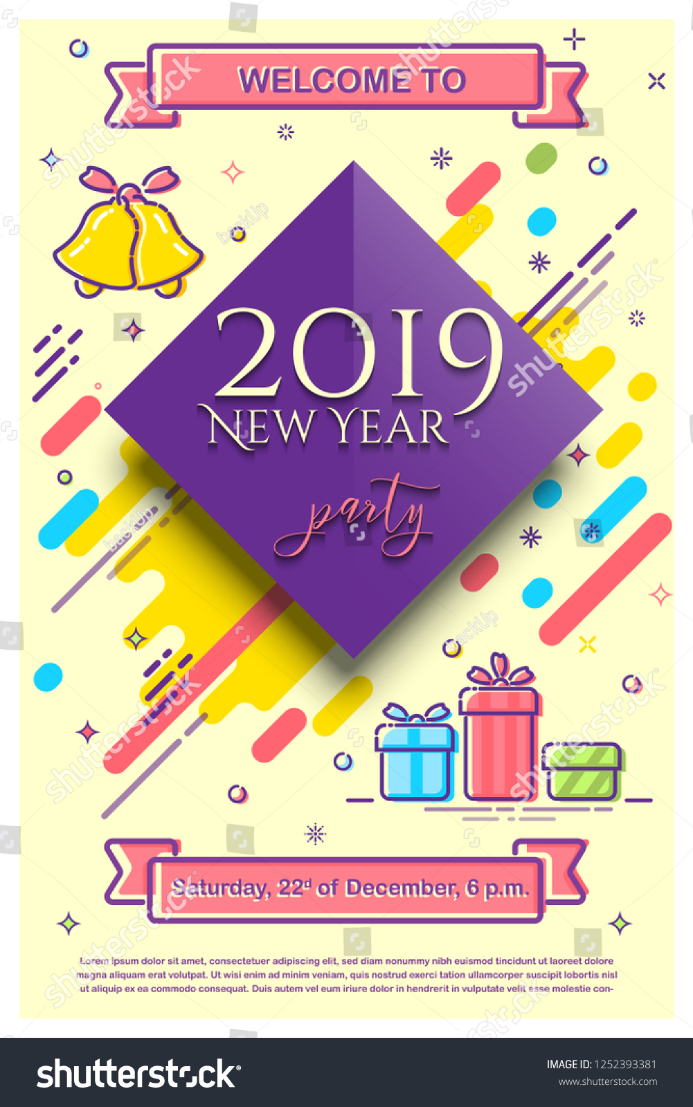 2019 New Year Party Flyer Template Stock Illustration 1252393381