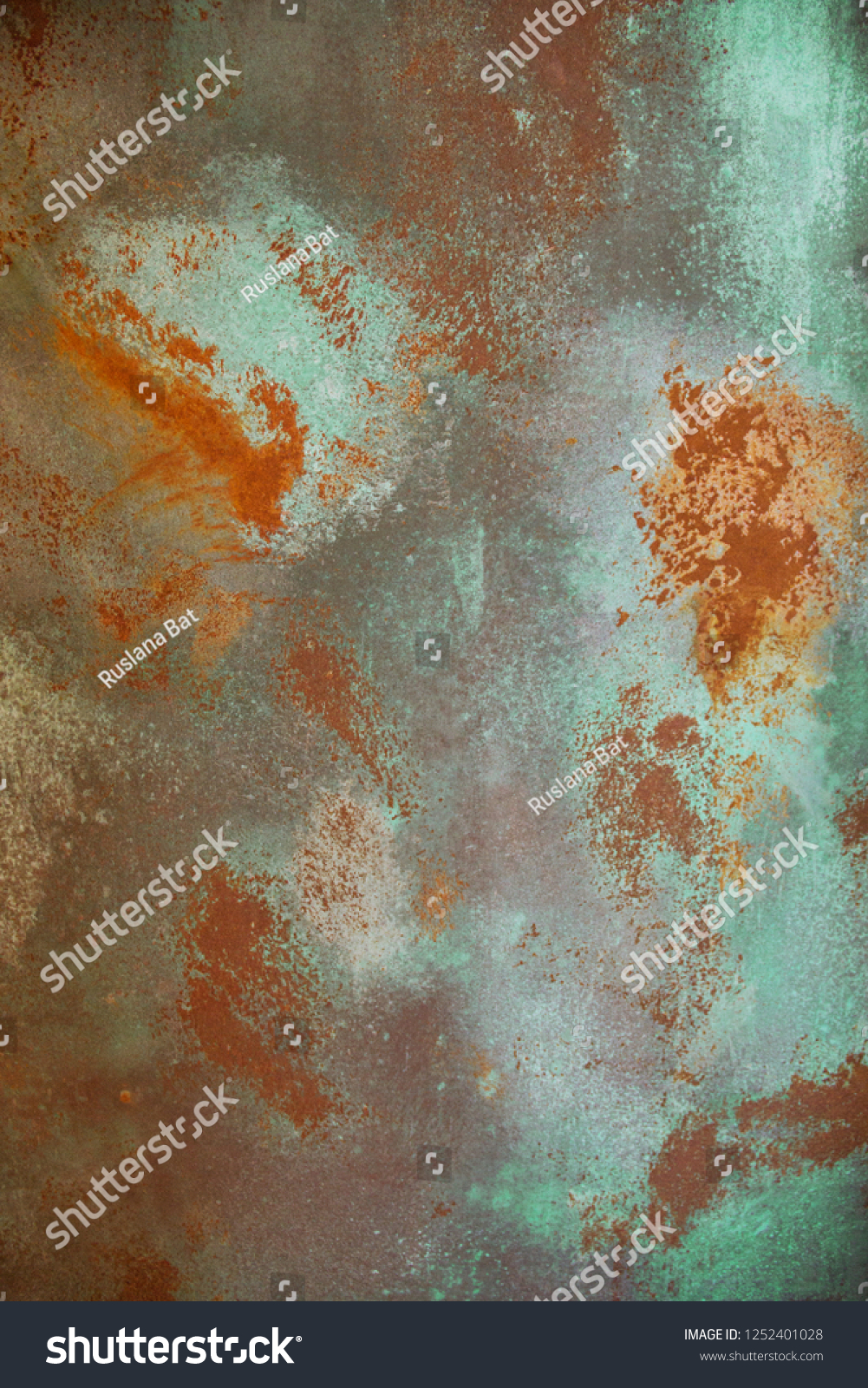 Closeup Oxidized Copper Textured Wall Turquoise Stock Photo