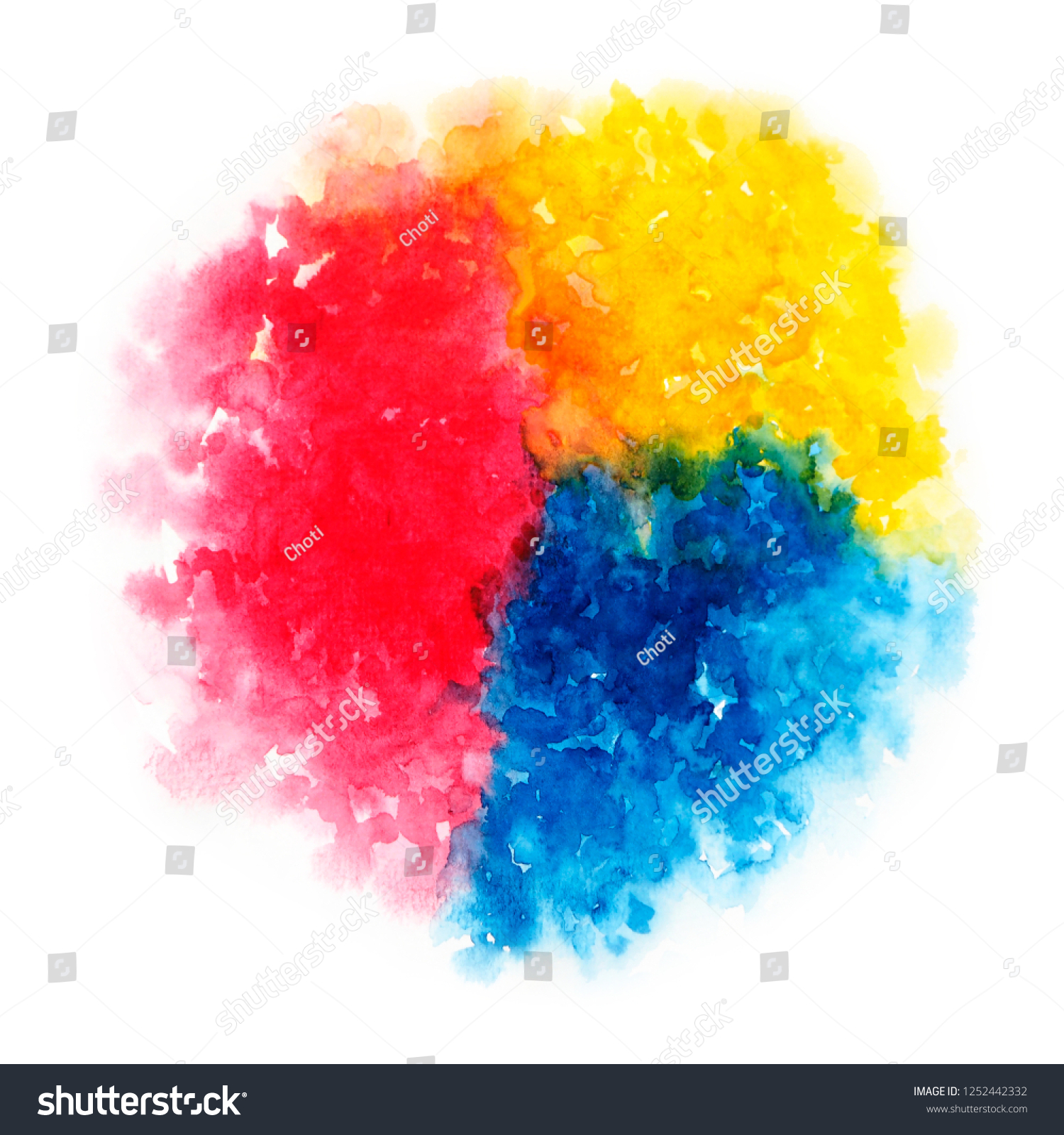 Primary Colors Style Watercolor Paints Mixed Stock Illustration 1252442332