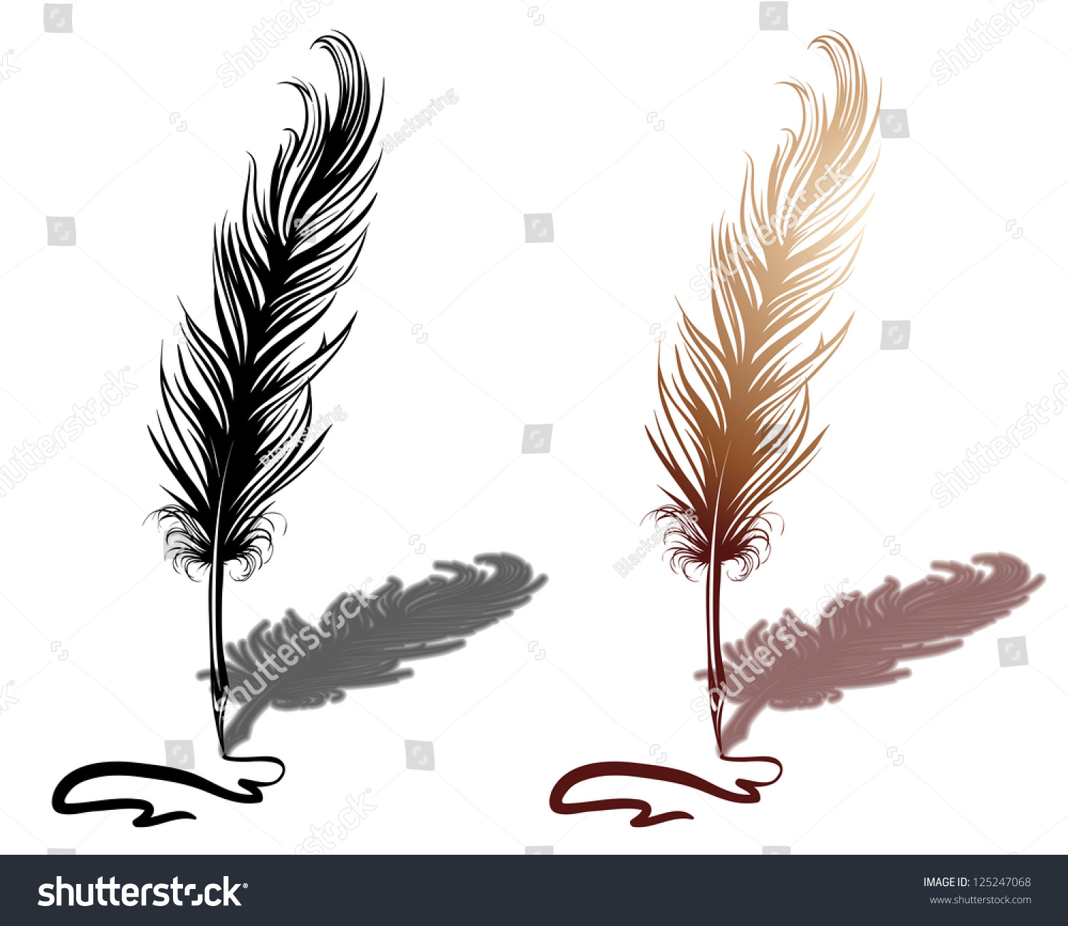 Line Drawing Of Quill : Quill with drawn line stock vector illustration
