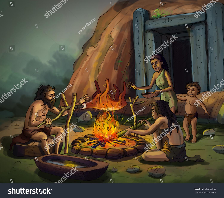 Caveman Meat : Cavemen cooking stock photo shutterstock
