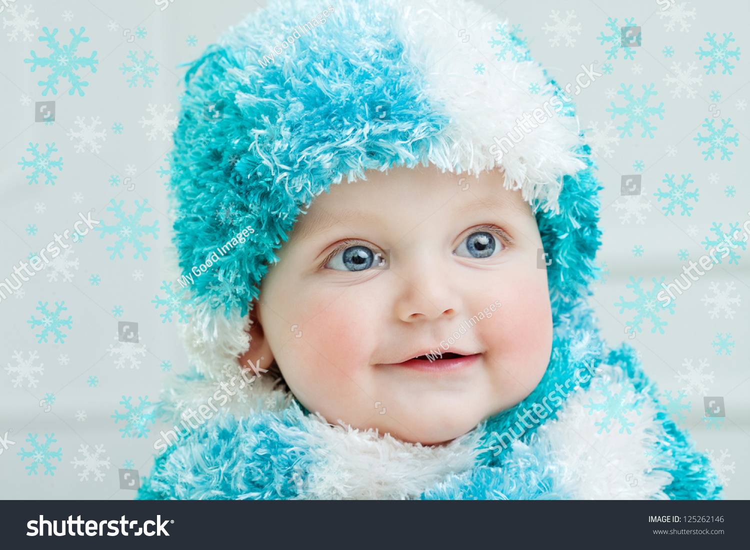 916a90e83fc1 Cute Baby Winter Background Stock Photo (Edit Now) 125262146 ...