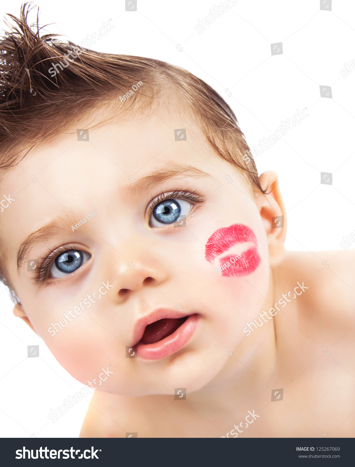 picture small pretty kid red lipstick stock photo (royalty free