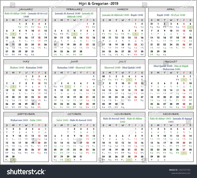 Gregorian Hijri Calendar For 2019 Hijri Gregorian Calendar Year 2019 Stock Illustration 1252727743