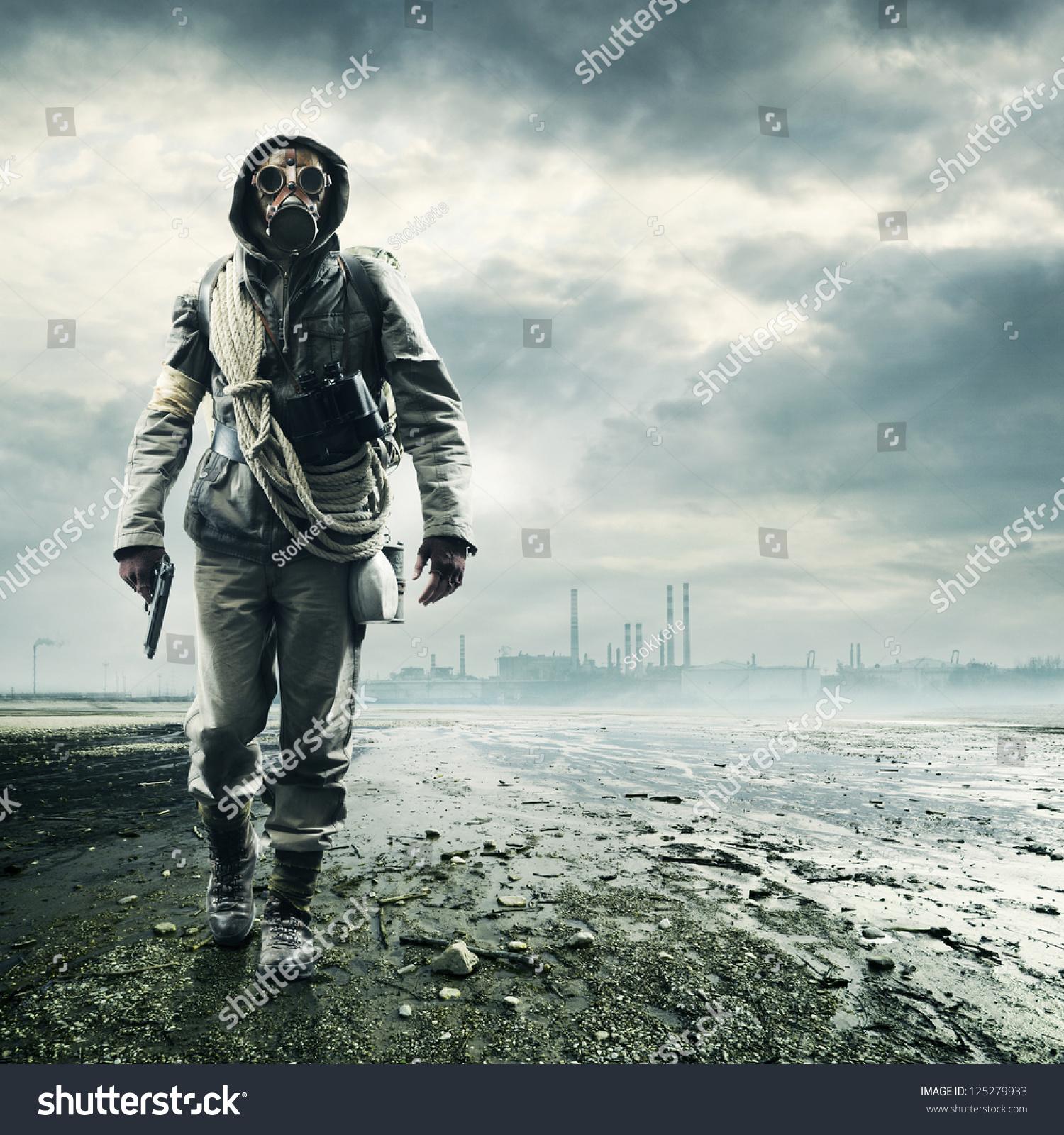 Apocalyptic Soldier Pics: Environmental Disaster Post Apocalyptic Survivor Gas Stock