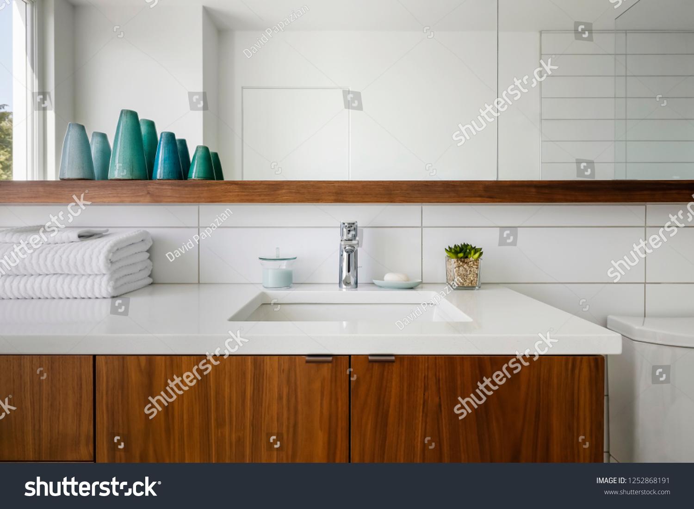 Interior View Midcentury Modern Bathroom Stock Photo Edit Now