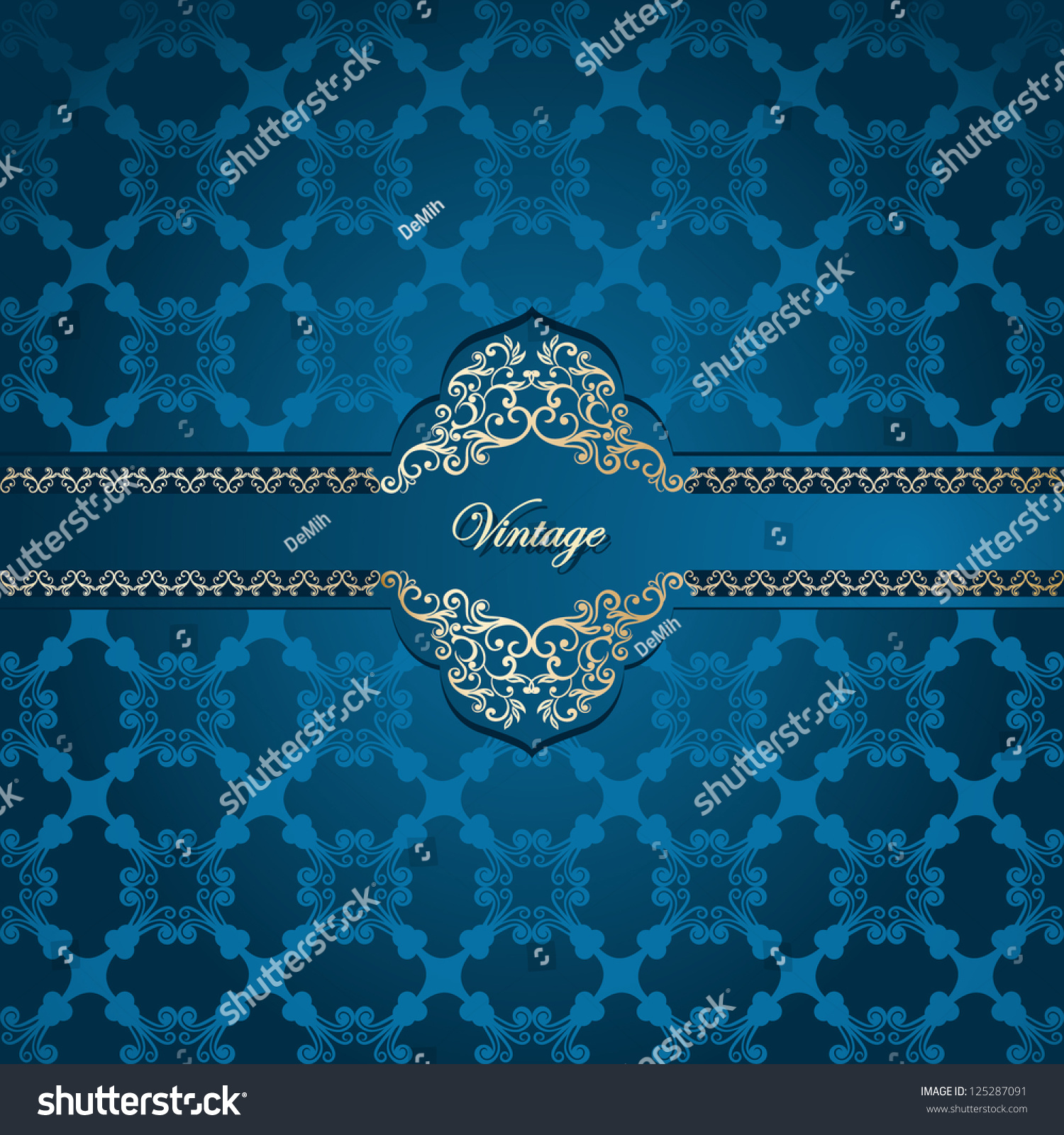 Vintage Frame On Seamless Abstract Damask Wallpaper Stock
