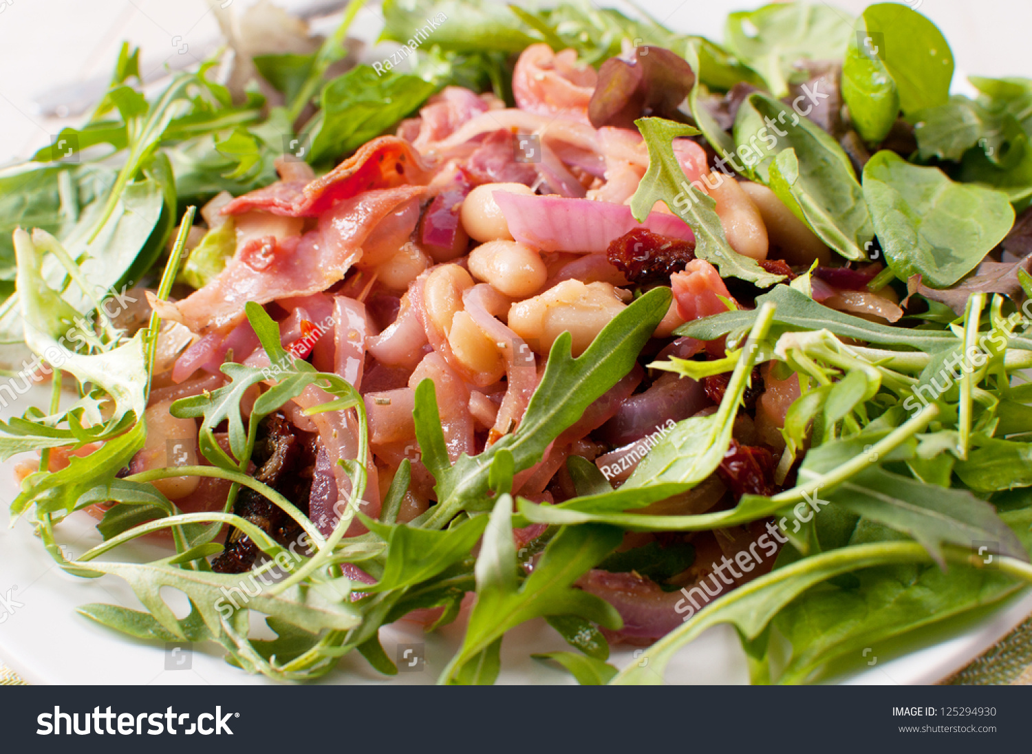 Red And Green Salad With Beans And Onion Close Up Stock ...