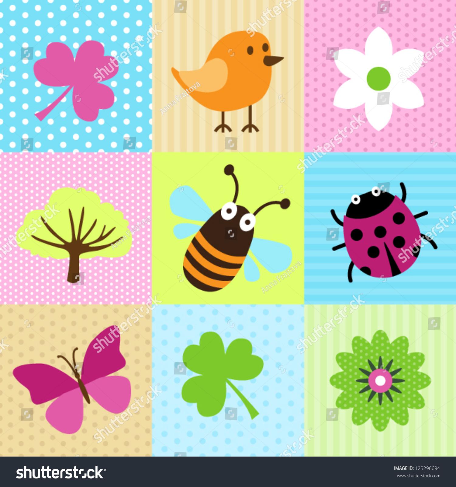 Spring Cartoons Web Print Stock Vector (Royalty Free) 125296694 ...