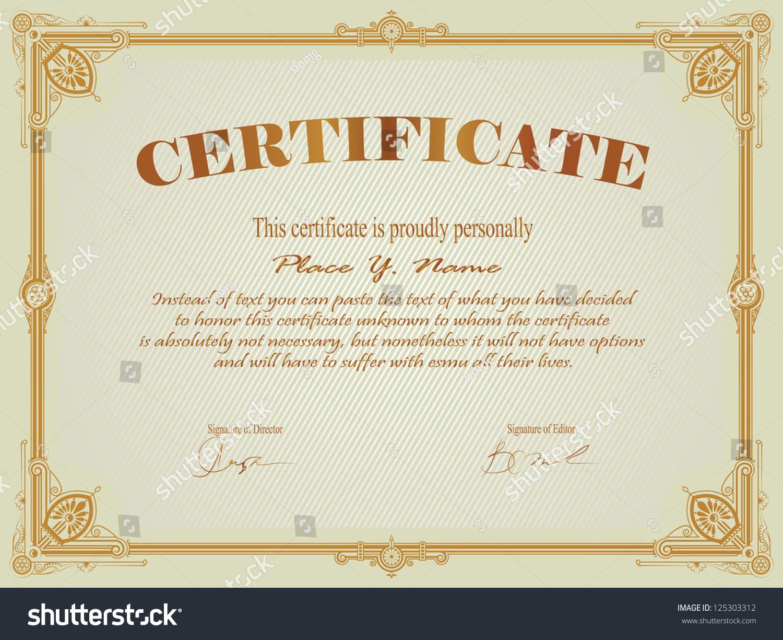 Vintage frame certificate diploma template stock vector for Certificate frame template