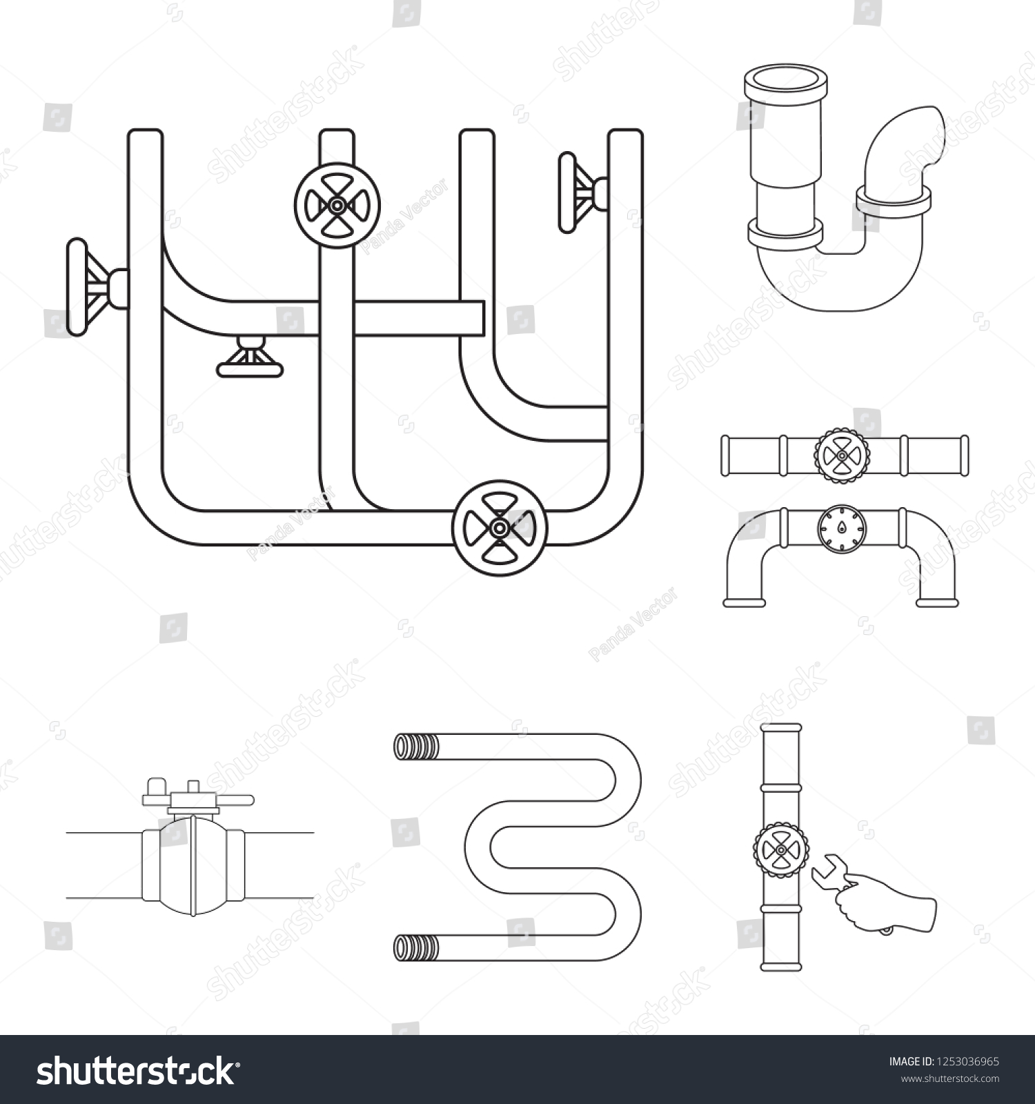 Vector Design Pipe Plumbing Logo Collection Stock Royalty Piping Diagram Symbols Pictures Of And Metal Symbol For