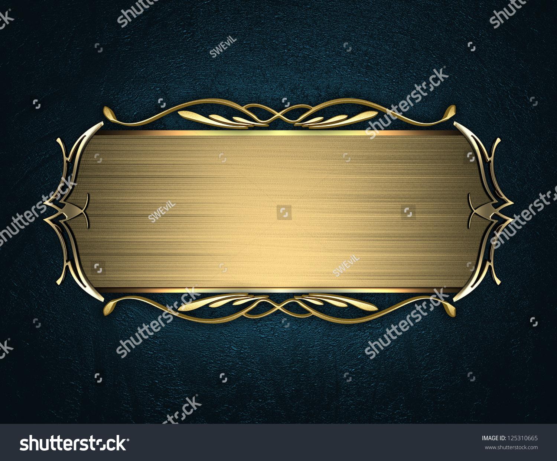 nameplate template free - design template blue texture beautiful gold stock