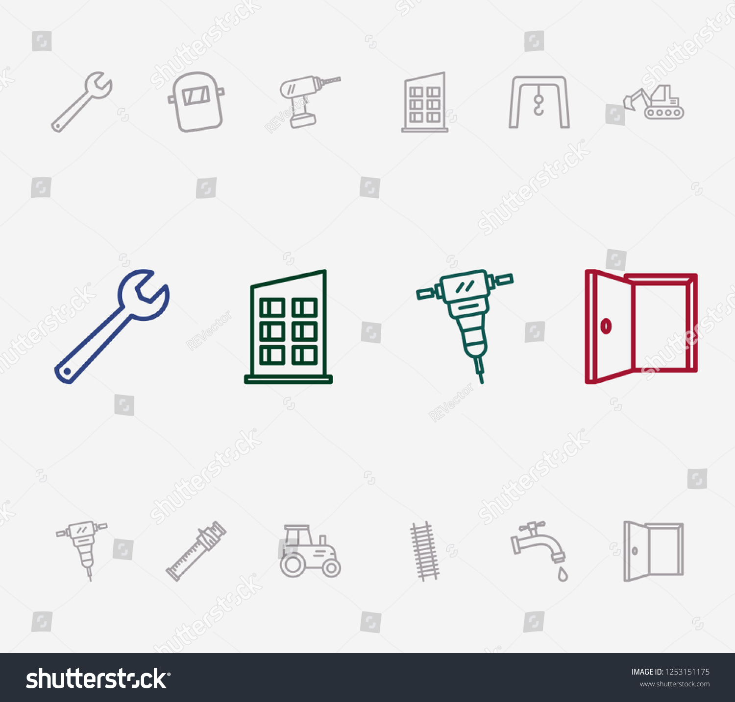 stock photo construction icon set and drill with stepladder sliding scale and house staircase related 1253151175 construction icon set drill stepladder sliding stock illustration