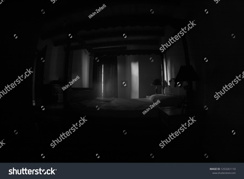 Creepy Bedroom Scenery Antique Scary Bedroom Stock Photo