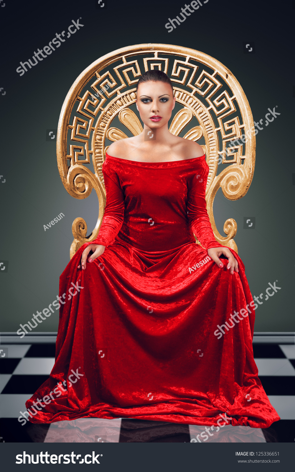 woman luxurious red dress sitting on stock photo edit now