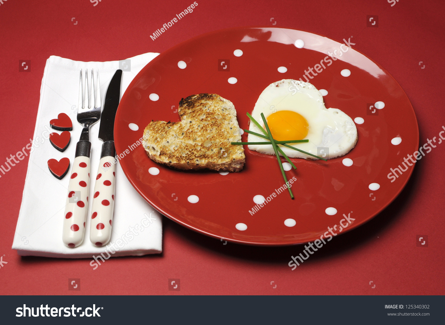 Table Setting For Breakfast Red Theme Breakfast Table Setting Heart Stock Photo 125340302