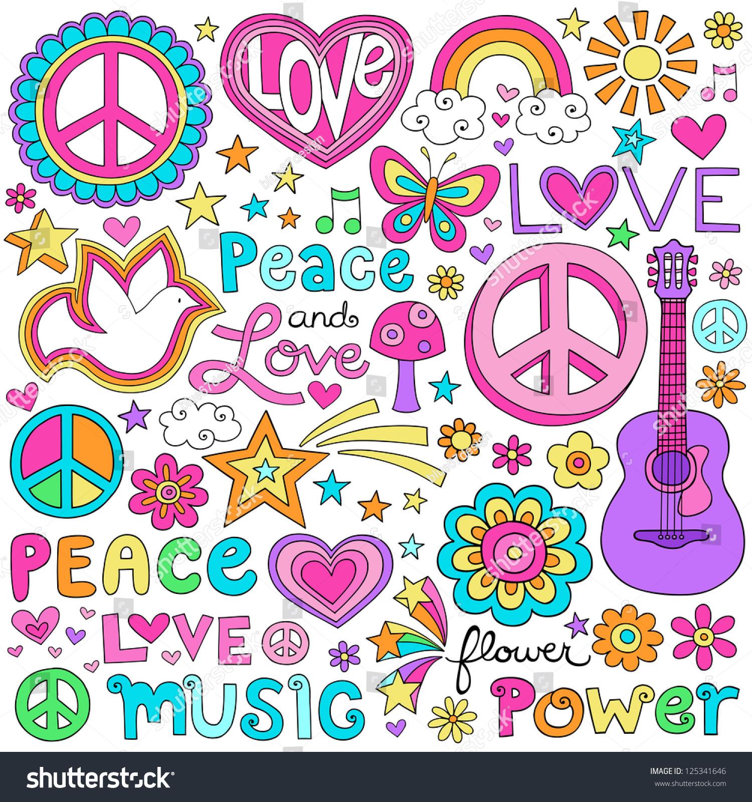 peace love dove flower power groovy stock vector 125341646 shutterstock. Black Bedroom Furniture Sets. Home Design Ideas