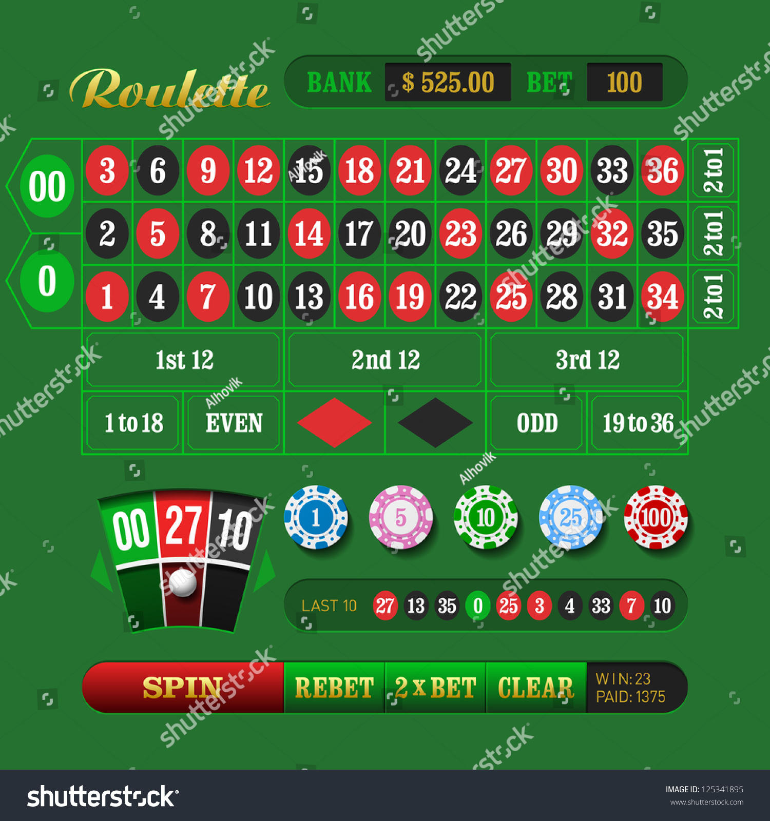 Traditional european roulette table vector illustration stock vector - American Roulette Vector