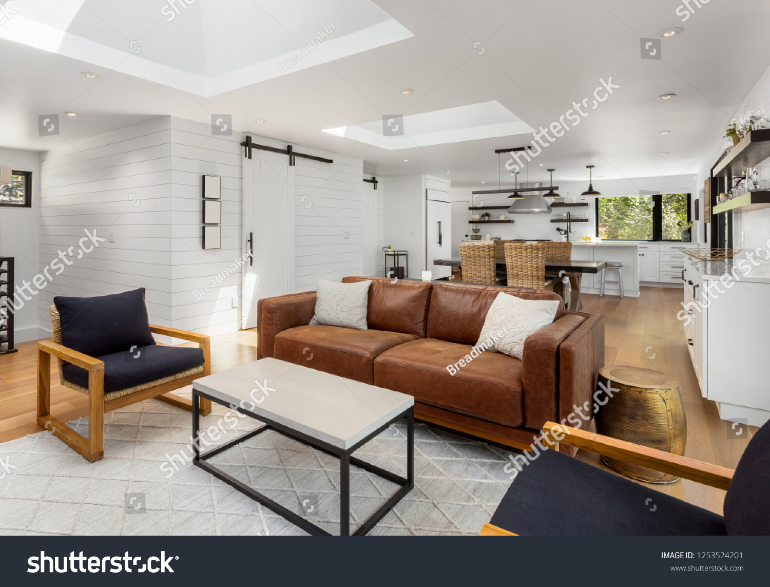 White Bright Living Room Dining Room Stock Photo Edit Now 1253524201