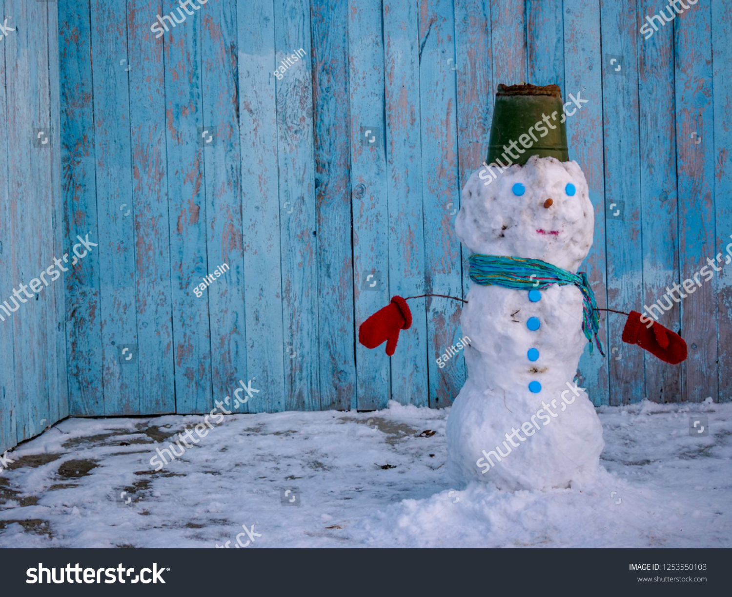 White Snowman Dressed Scarf Tin Bucket Stock Photo Edit Now