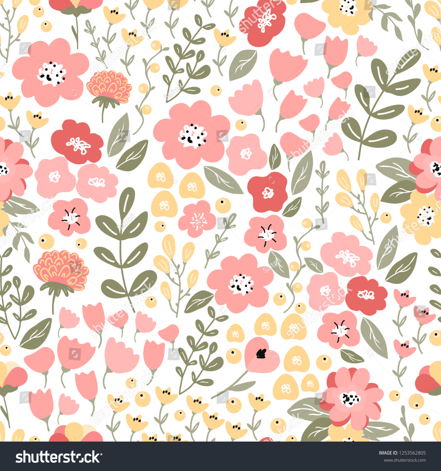 Bright Colorful Seamless Pattern Flowers Branches Stock Vector