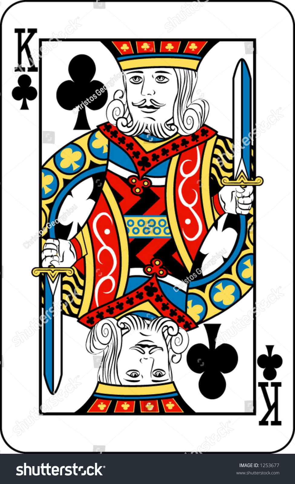 king clubs deck playing cards rest stock vector 1253677