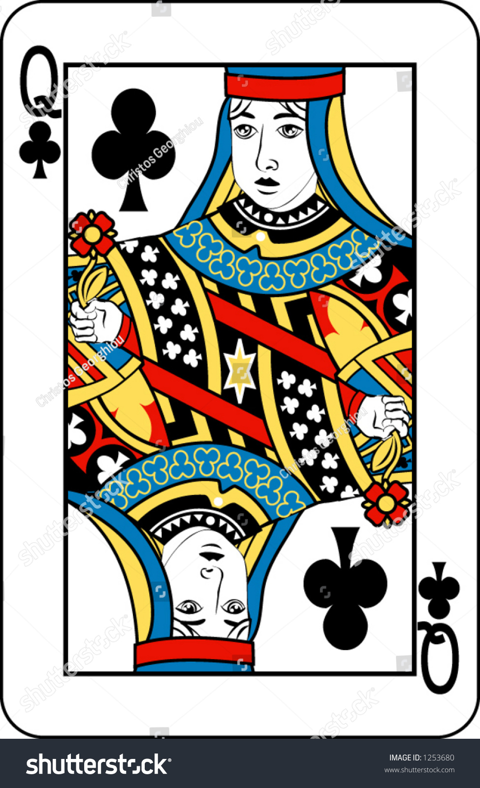 Queen Clubs Deck Playing Cards Rest Stock Vector 1253680 ...