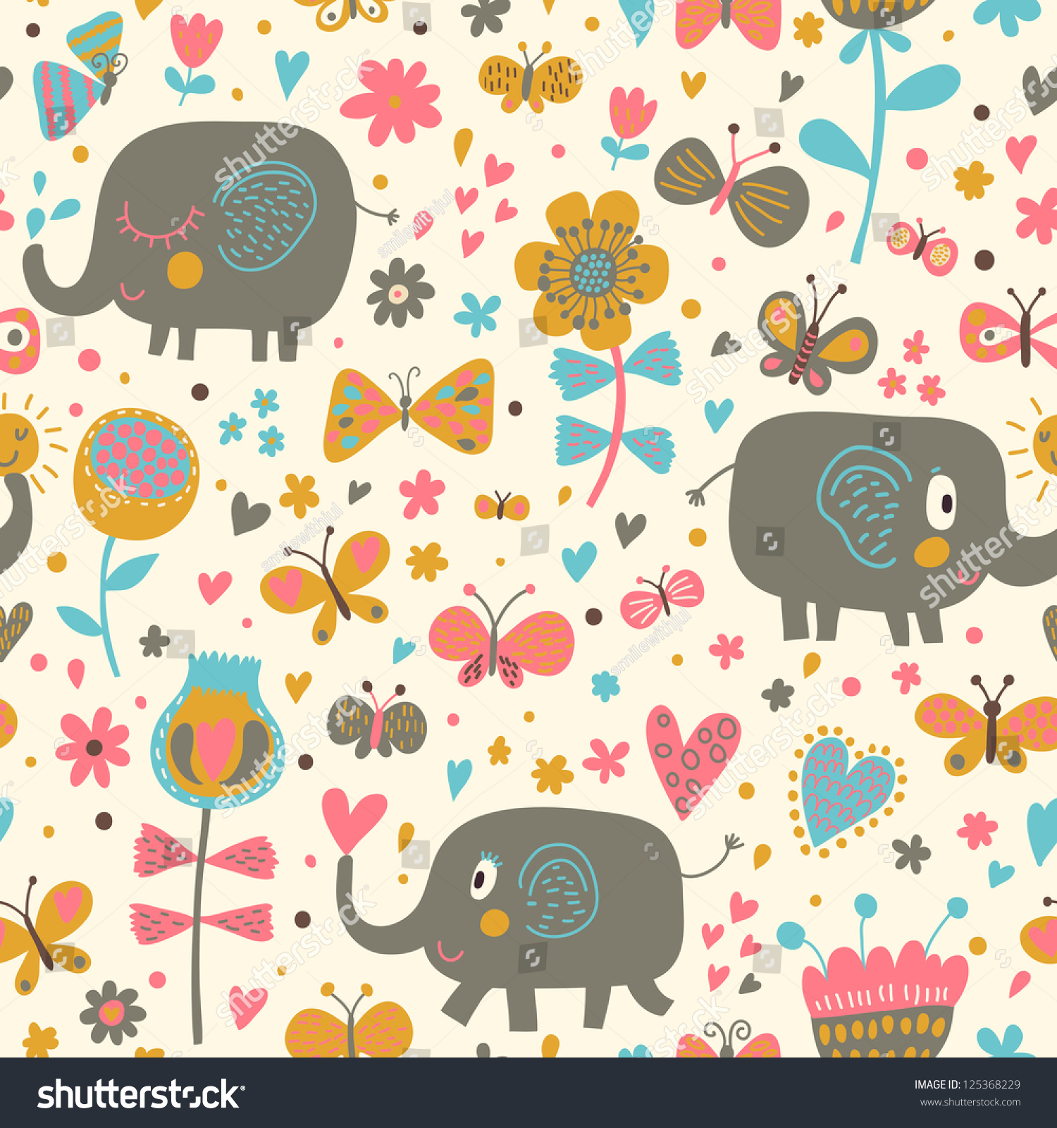 cartoon seamless pattern childrens wallpapers cute stock
