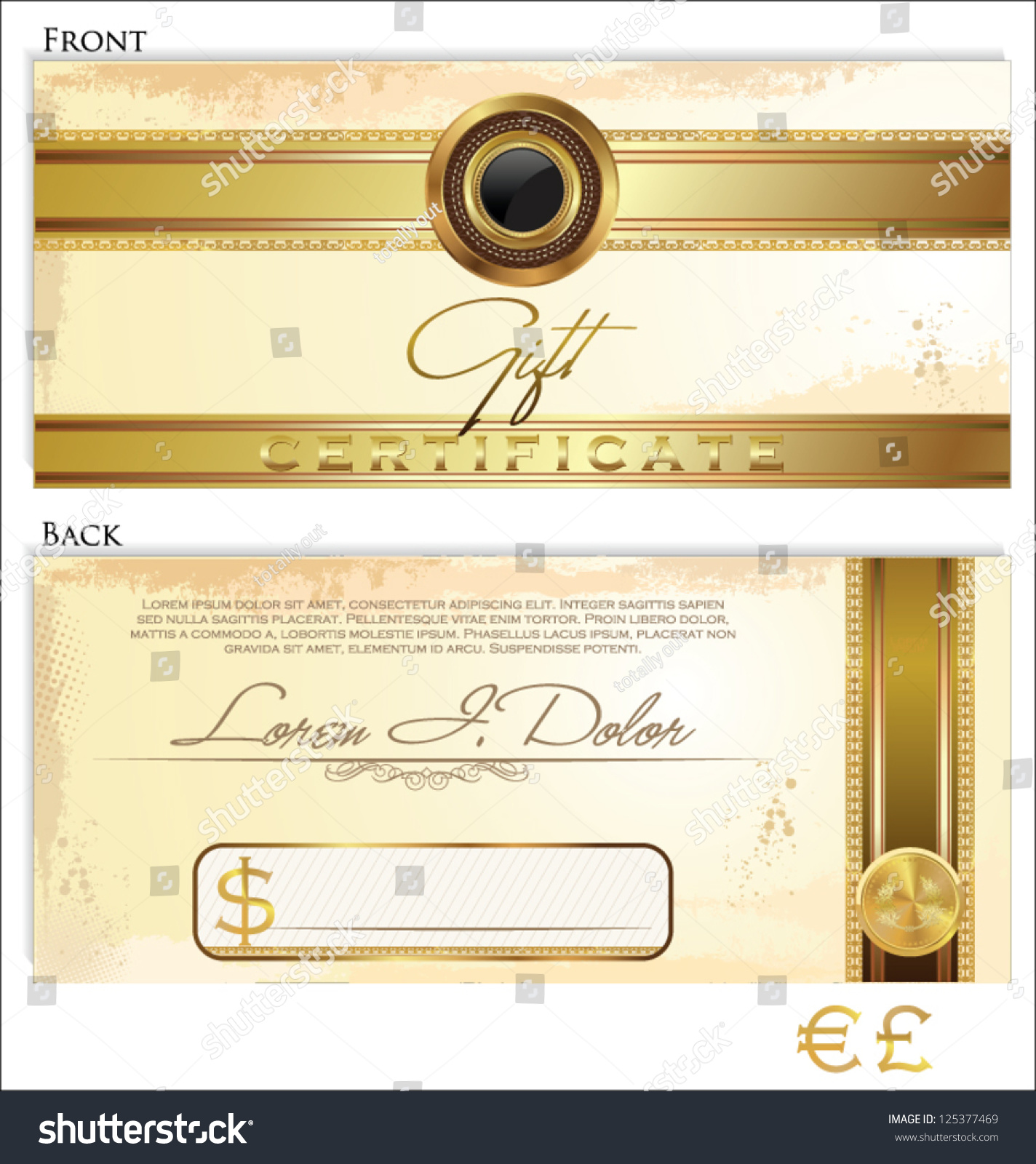 Gift certificate template front back design stock vector 125377469 gift certificate template front and back design yadclub Gallery