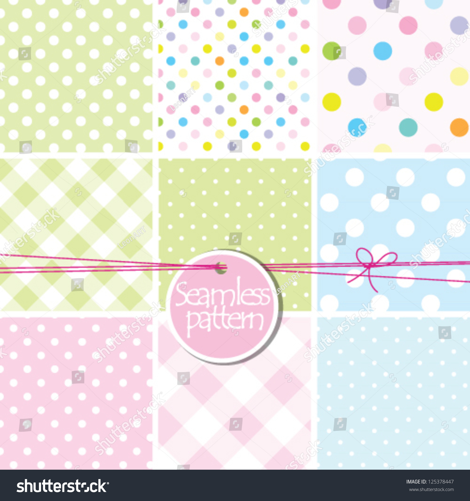 Baby Shower Baby Background set Cute Seamless Stock Vector