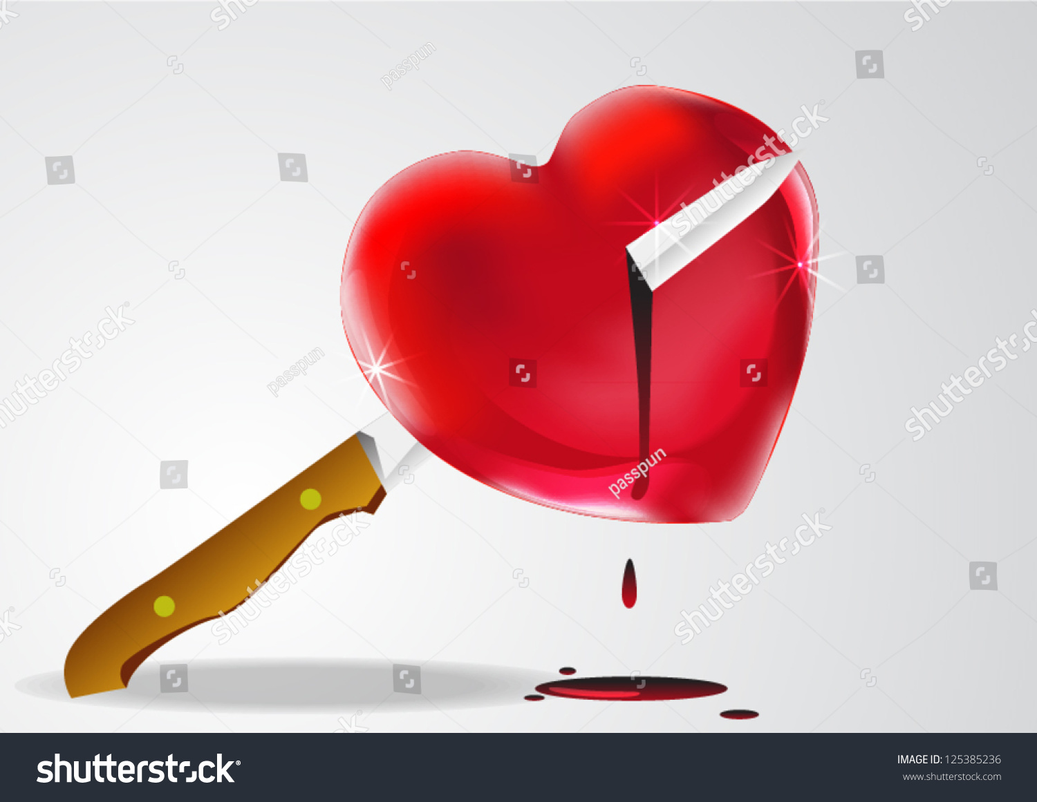 Bleeding Heart Bloody Knife Stock Vector Royalty Free 125385236