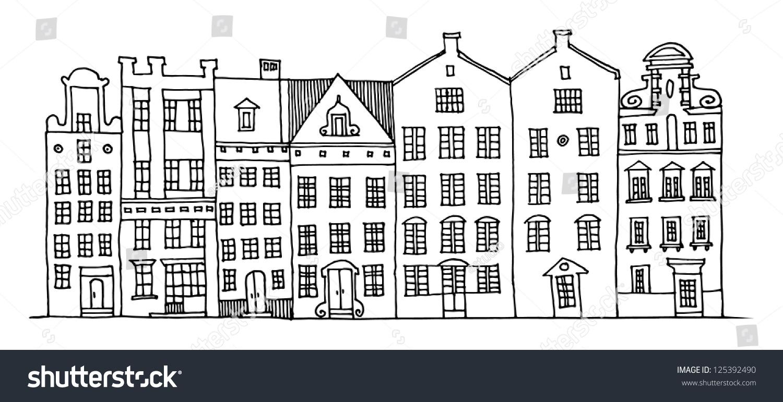 cartoon hand drawing houses stock vector 125392490 shutterstock
