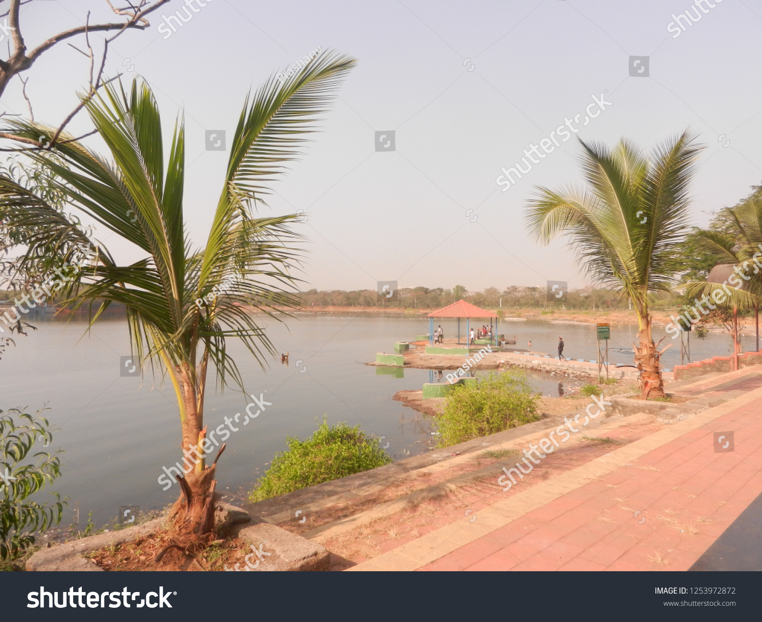 beautiful lake view with small hut in the middle with palm trees on the shore