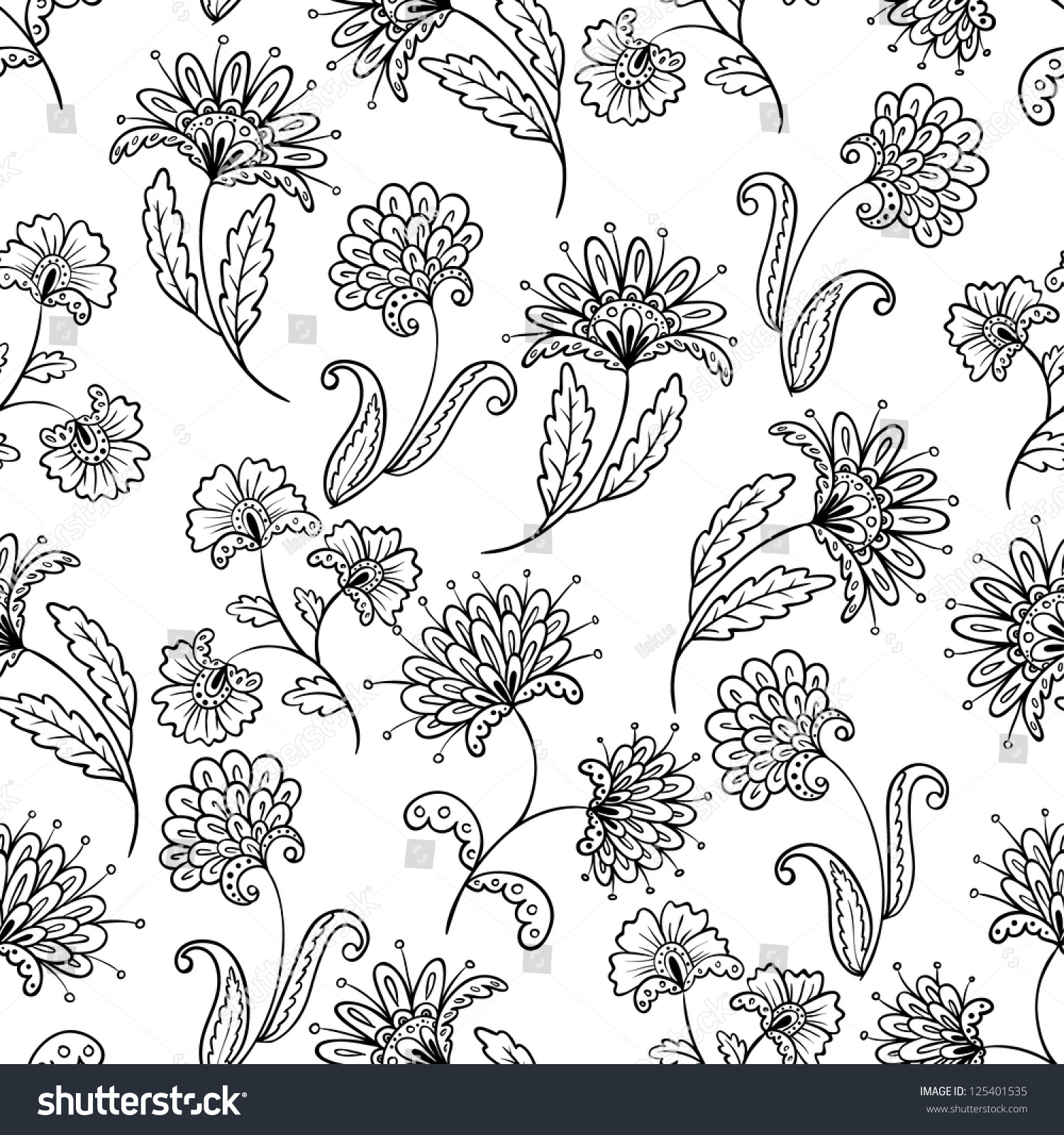 Line Art Flower Pattern : Floral lineart seamless pattern stock vector