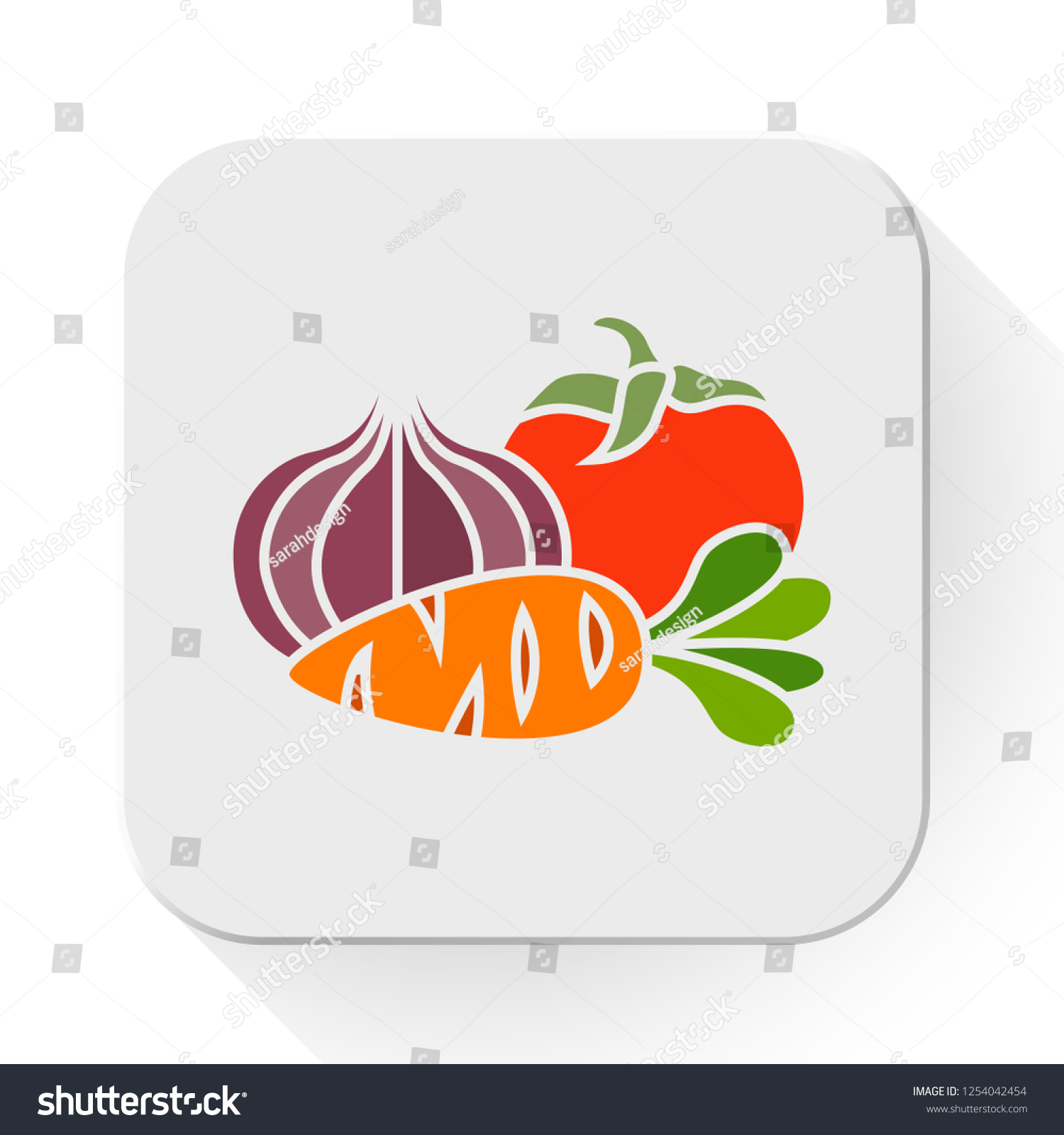 vector vegetables icon. Flat illustration of vegetables. vegetables isolated on white background. vegetables sign symbol  #1254042454