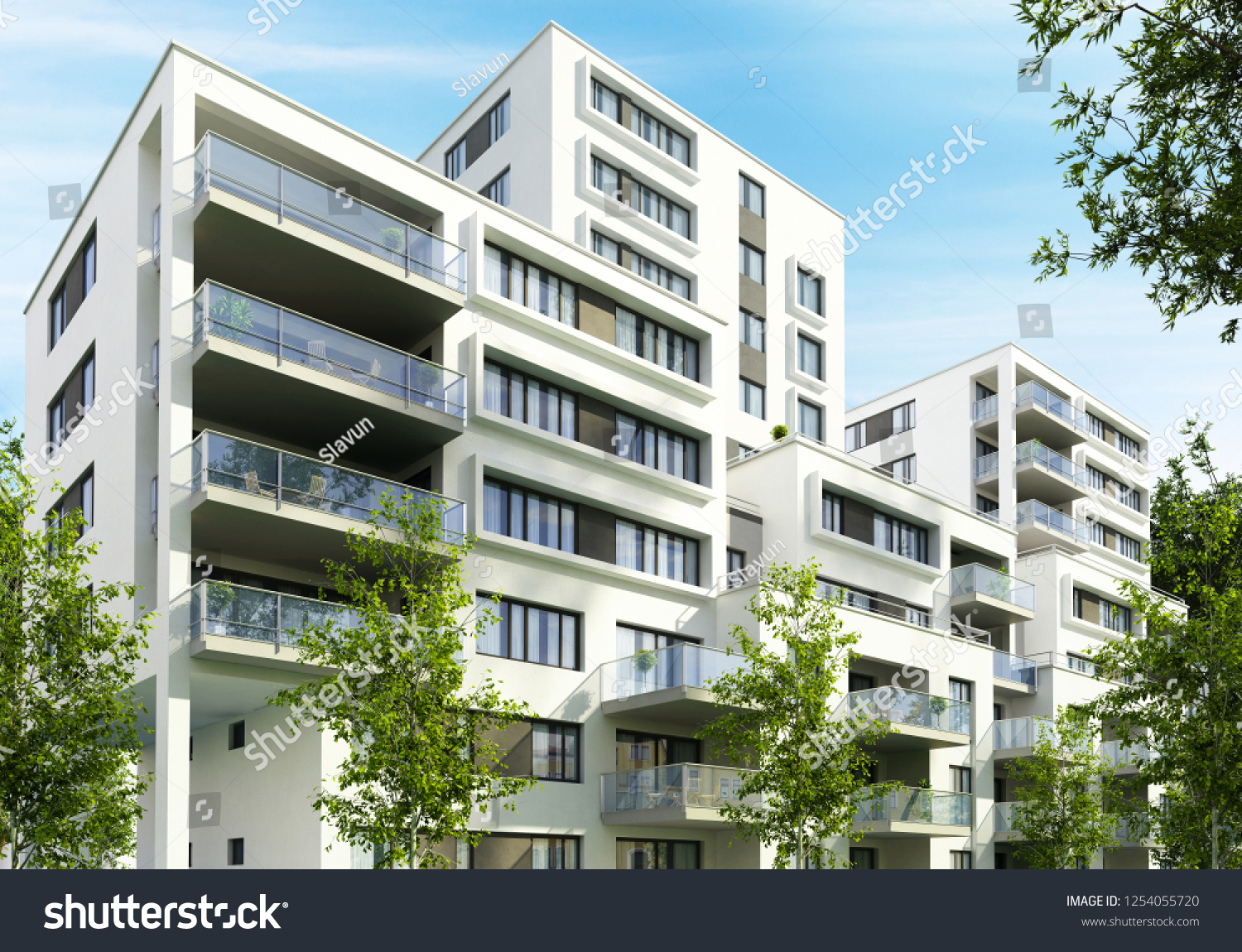 Modern Apartment Buildings City 8 D Rendering Stock Illustration ...
